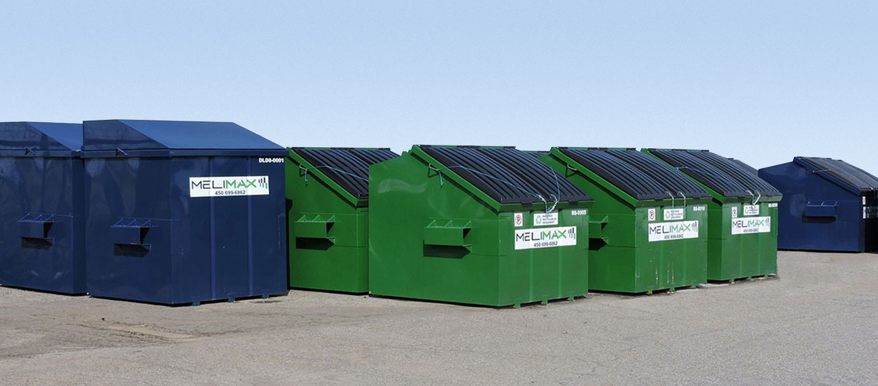 Different sizes of waste and recycling dumpsters